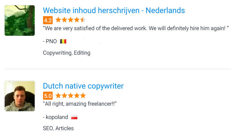 Beoordelingen van klanten via freelancer.com