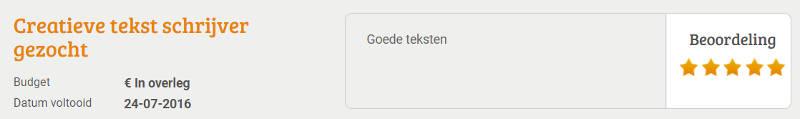 Beoordeling klant via freelancer.nl